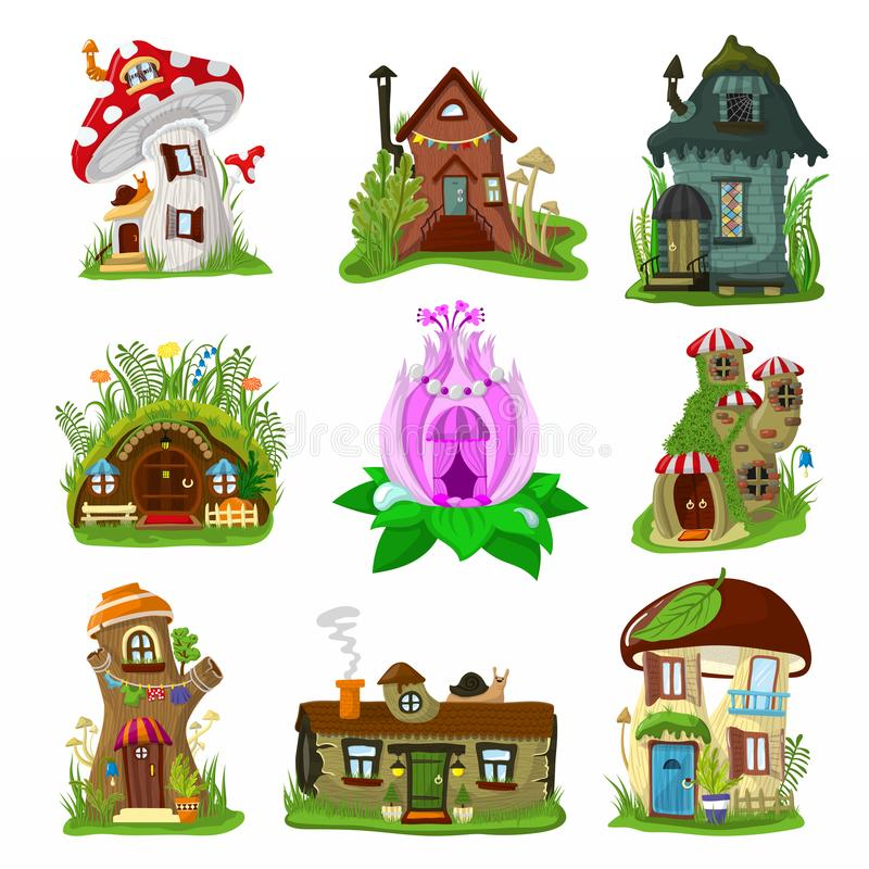 Fantasy house vector cartoon fairy treehouse and magic housing village illustration set of kids fairytale playhouse for. Gnome or elf isolated on white royalty free illustration