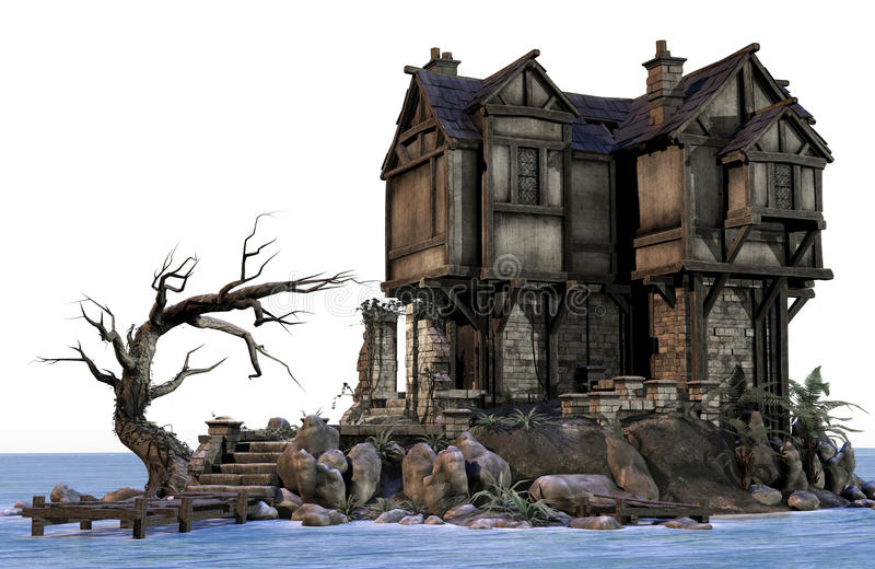 Download Fantasy House By The Water Royalty Free Stock Photography - Image: 24111087