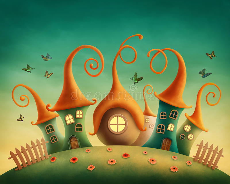 Fantasy houses. In the meadow royalty free illustration