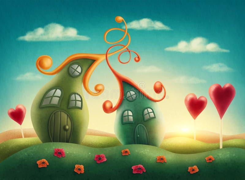 Fantasy houses royalty free illustration