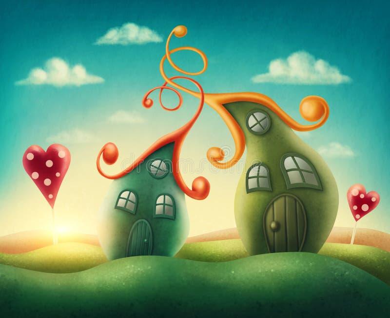 Fantasy houses stock illustration