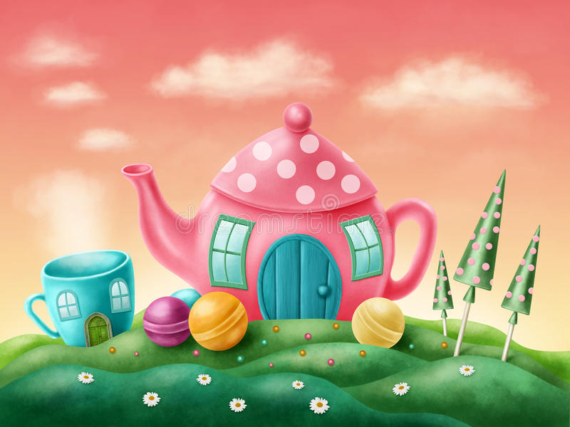 Fantasy houses. Fantasy teapot and teacup houses stock illustration