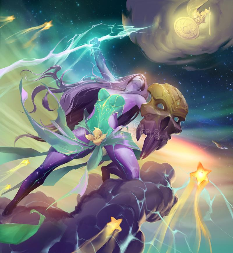 Fantasy illustration of a beautiful lightning goddess. Flying on a stormy cloud with a lightning weapon in her hand vector illustration