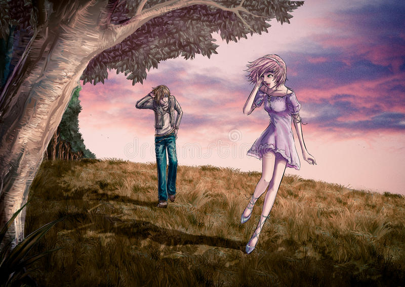 Fantasy illustration of a cute couple is walking along the beaut. Iful field on the hill in romantic color style stock illustration
