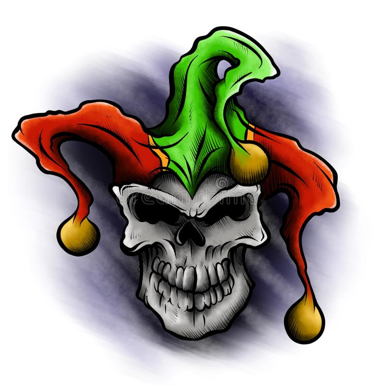 Fantasy illustration of a laughing angry joker skull wearing a clown jester`s cap hat with three gold bells. stock illustration
