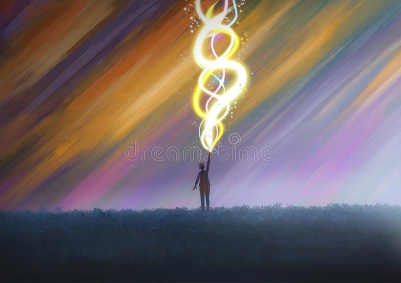 Fantasy illustration A person or child shooting out glowing beams stock illustration