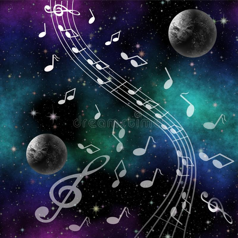 Fantasy image Music of space with planets and treble clef. On nebula background vector illustration