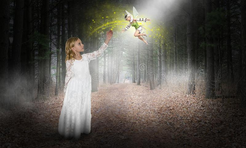 Fantasy, Imagination, Young Girl, Fairy, Elf, Woods stock image