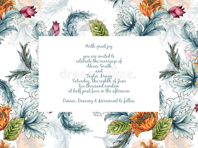 Fantasy Invitation card floral foliage leaf in jacobean embroidery damask style, vintage rustic retro style illustration hand vector illustration