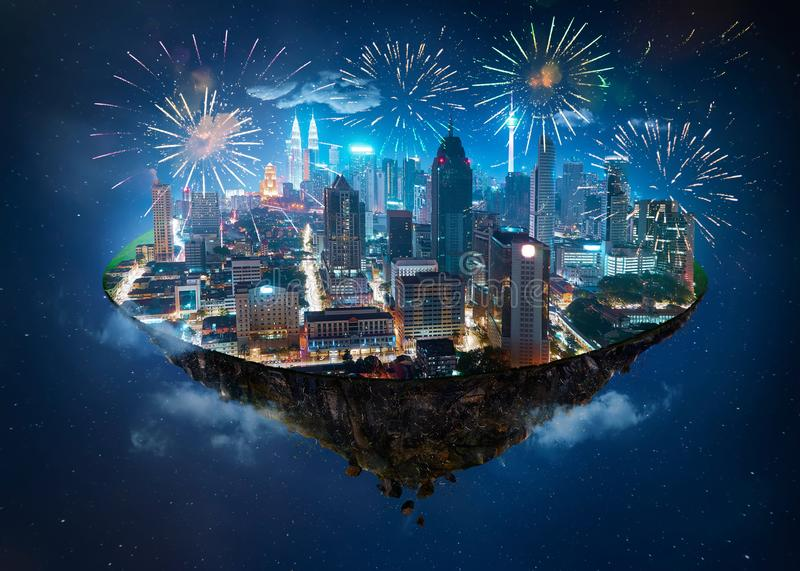 Fantasy island floating in the air with modern city. Skyline and lake garden, Night scene with firework celebration stock photos