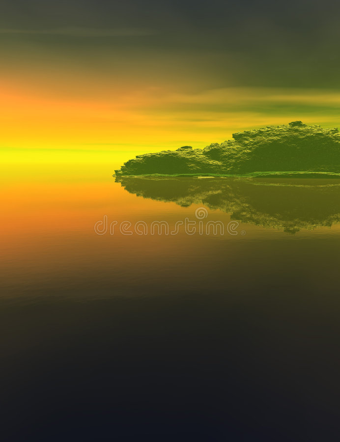 Fantasy Island Landscape. Computer generated Landscape in green and golds with water, sky and mountains vector illustration