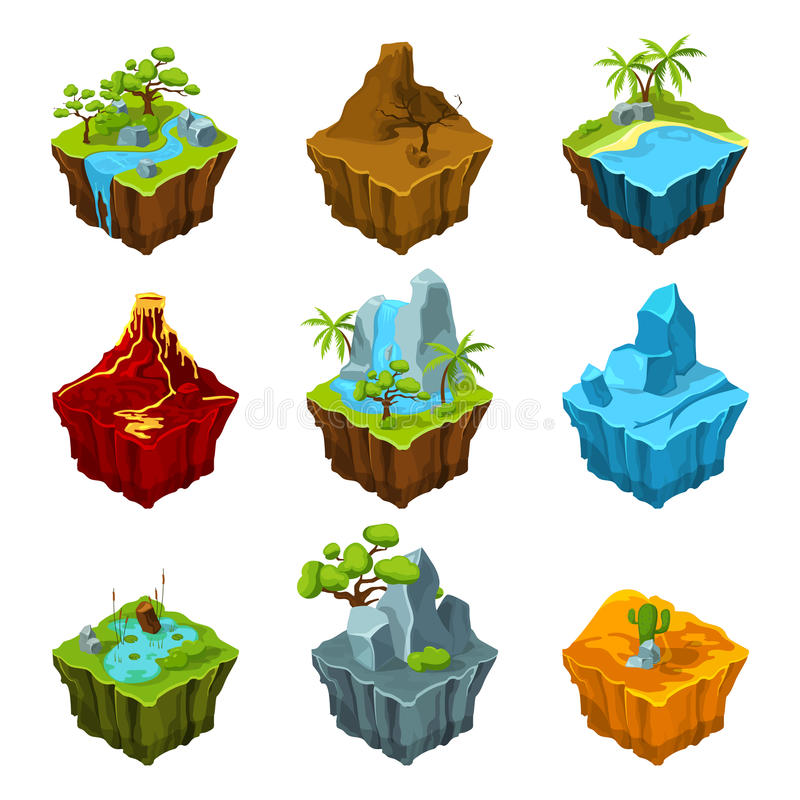 Fantasy isometric islands with vulcans, different plants and rivers. Interface elements in cartoon style. Vector royalty free illustration