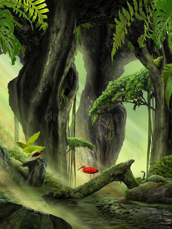 Fantasy Jungle Landscape. With fern and river vector illustration