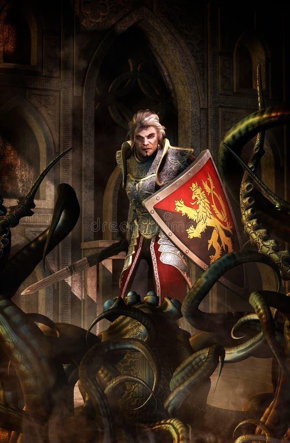 Fantasy knight paladin and dungeon monster. 3D render fantasy illustration stock illustration