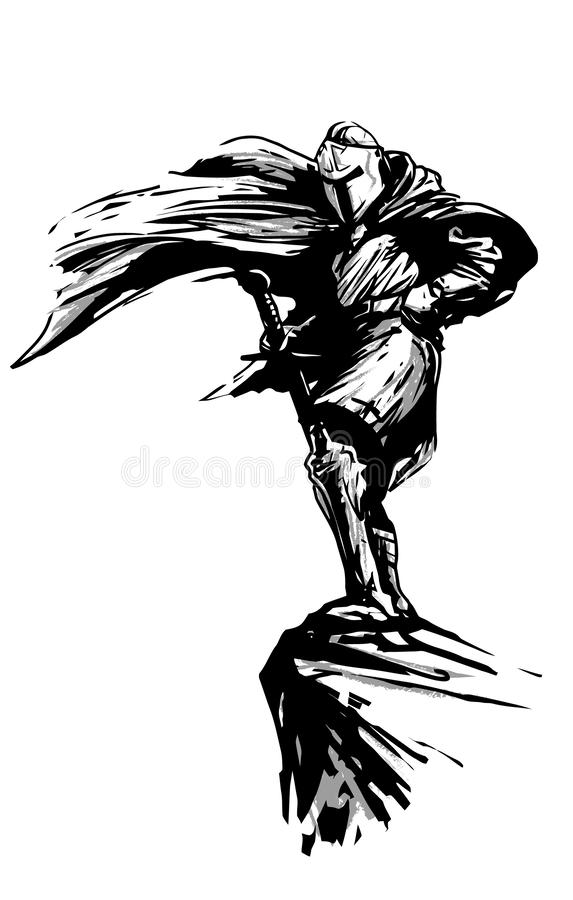 Fantasy knight with sword and fluttering cloak in the wind standing on the rock. Vector black illustration on white background vector illustration