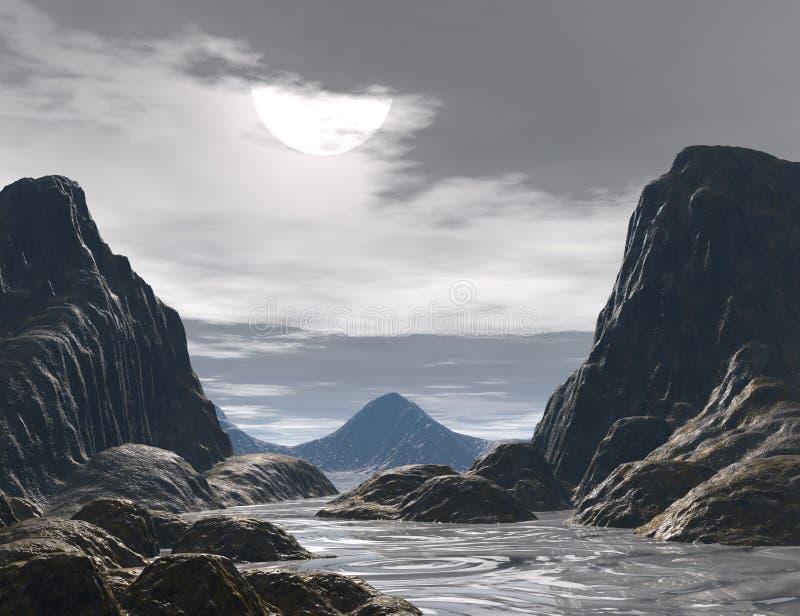 Fantasy land. 3D rendered fantasy landscape with lightning and sun vector illustration