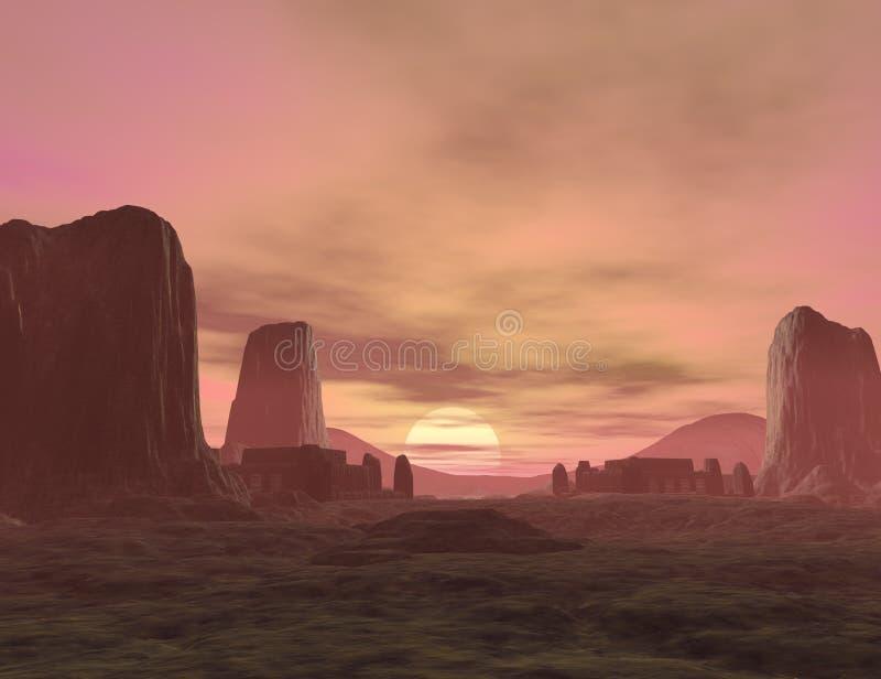 Fantasy land. 3D rendered fantasy landscape with lightning and sun stock illustration