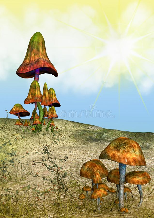 Fantasy Land with Mushrooms royalty free illustration