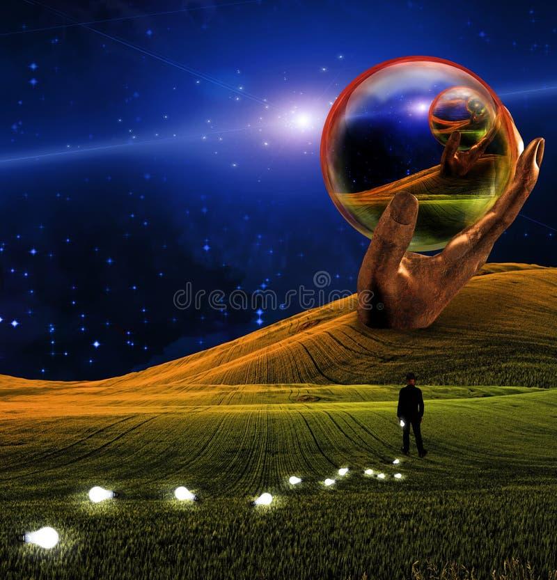 Fantasy Landscape. High Resolution Hand Sculpture holds glass sphere in surreal landscape royalty free illustration