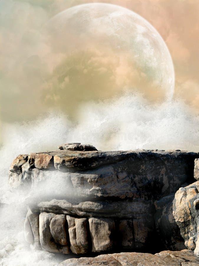 Fantasy Landscape. In the ocean royalty free illustration