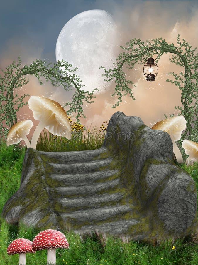 Fantasy Landscape. Fairy fantasy landascape in the forest stock illustration