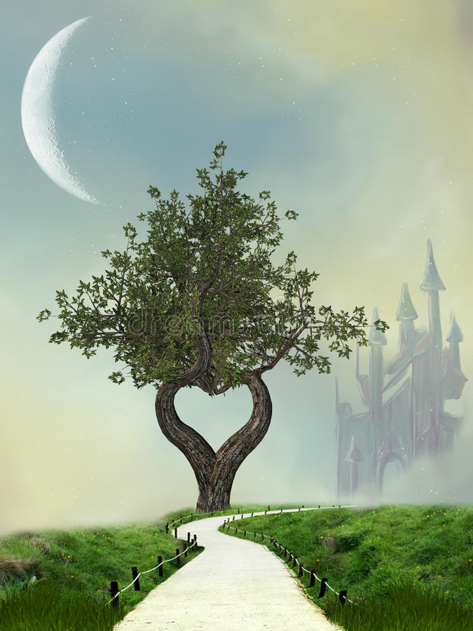 Fantasy Landscape. With heart tree stock illustration