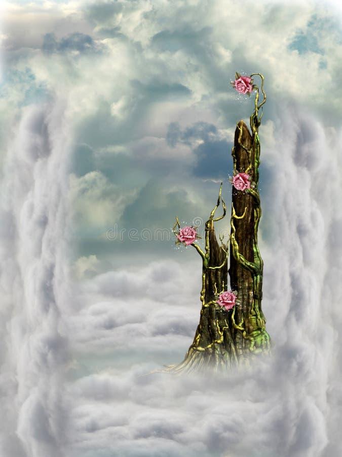 Fantasy Landscape. In the sky royalty free illustration
