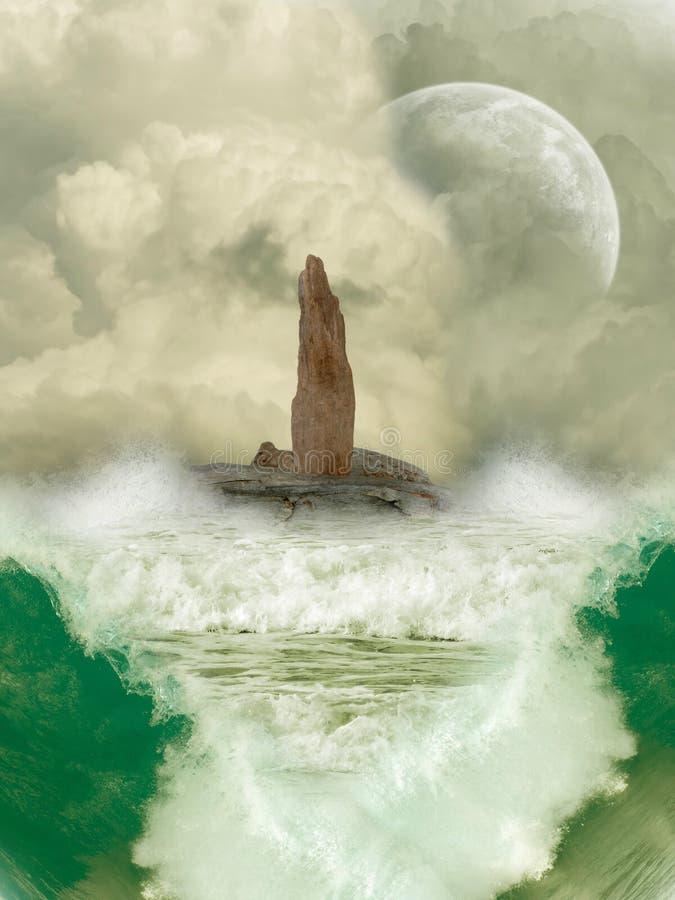 Fantasy Landscape. In the ocean vector illustration