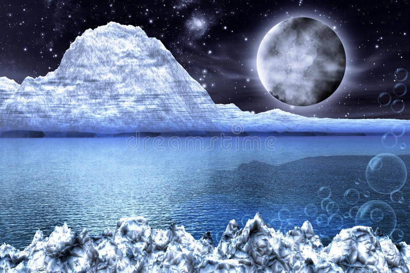 Fantasy whitde frozen Landscape stock illustration
