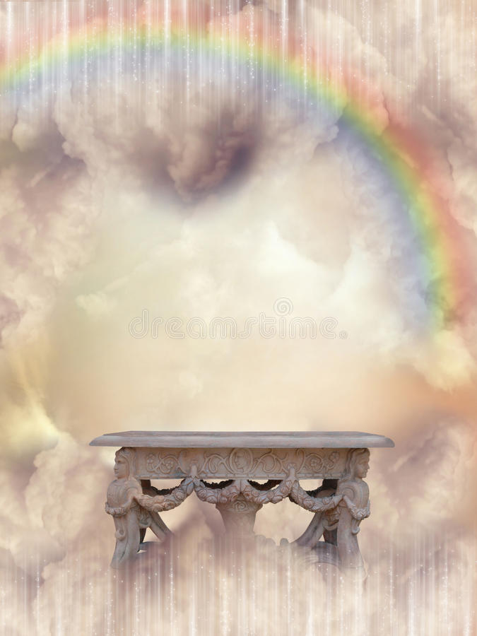 Fantasy Landscape. In the sky with rainbow royalty free illustration