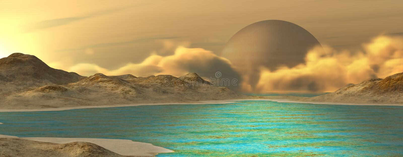 Fantasy landscape. Imaginary landscape on a distant planet. Digital illustration stock illustration