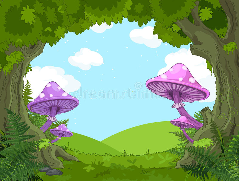 Fantasy landscape. With mushrooms and trees royalty free illustration