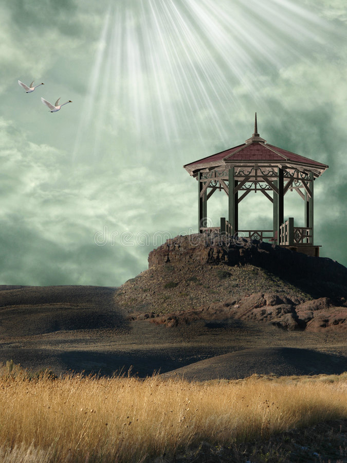 Fantasy Landscape. With pier in the mountain vector illustration