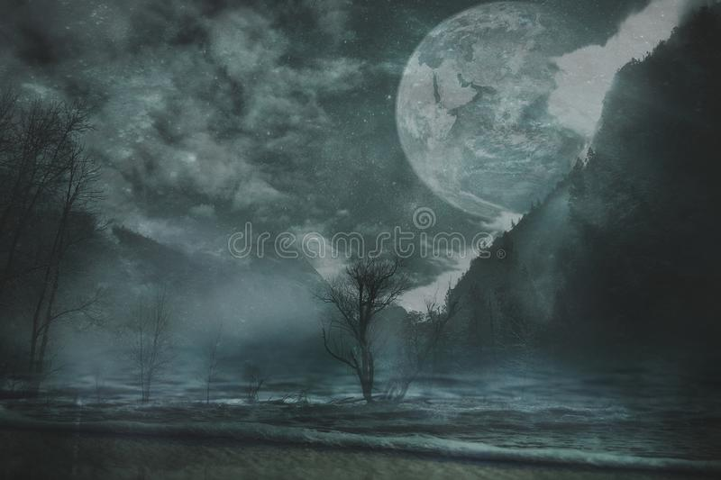 Fantasy landscape background royalty free stock images