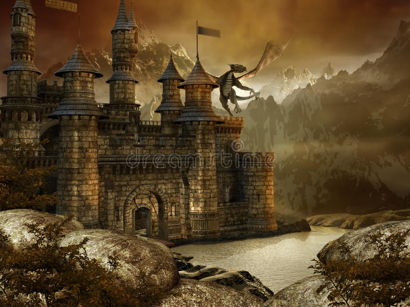 Fantasy landscape with a castle stock illustration