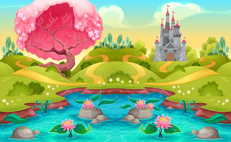 Fantasy landscape with castle in the countryside. Vector cartoon illustration stock illustration