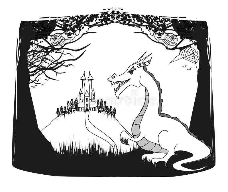 Fantasy landscape with castle and a dragon vector illustration