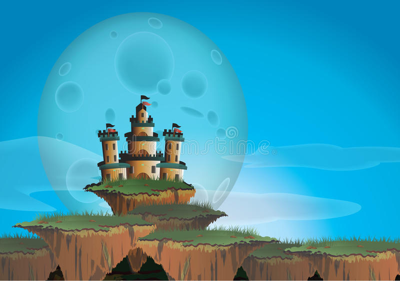 Fantasy landscape with castle on a floating island. Create by vector royalty free illustration