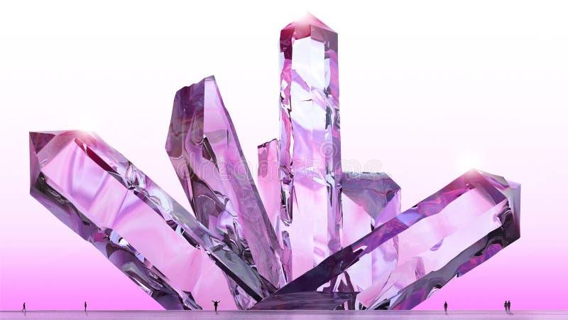 Fantasy landscape, crystals, amethyst, quartz, light, sun, people in backlight in a science fiction landscape, big crystals royalty free illustration