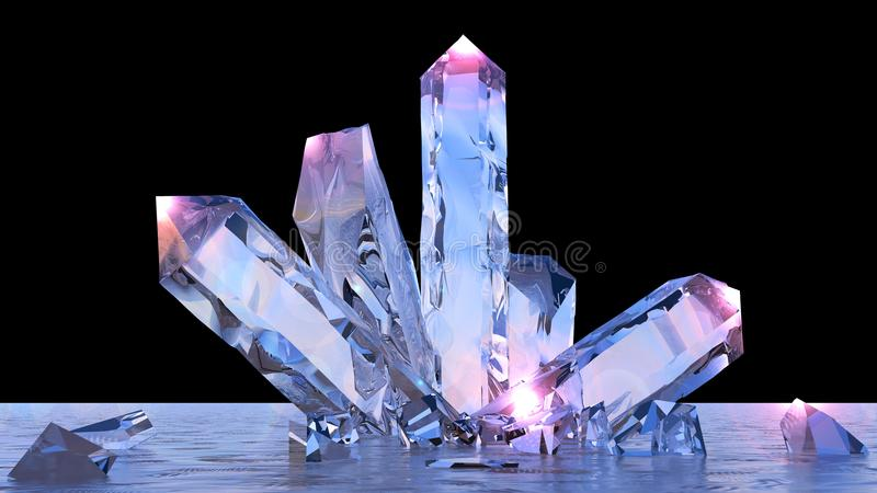 Fantasy landscape, crystals, amethyst, quartz, light, sun, people in backlight in a science fiction landscape, big crystals stock illustration