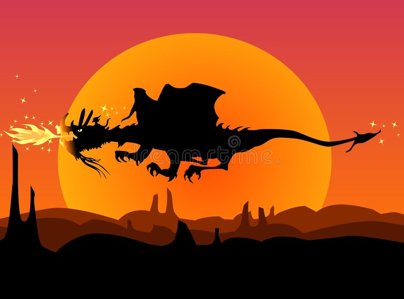 Fantasy landscape with dragon. Fire breathing dragon with small elf on his back, over a fantasy landscape at sunset vector illustration