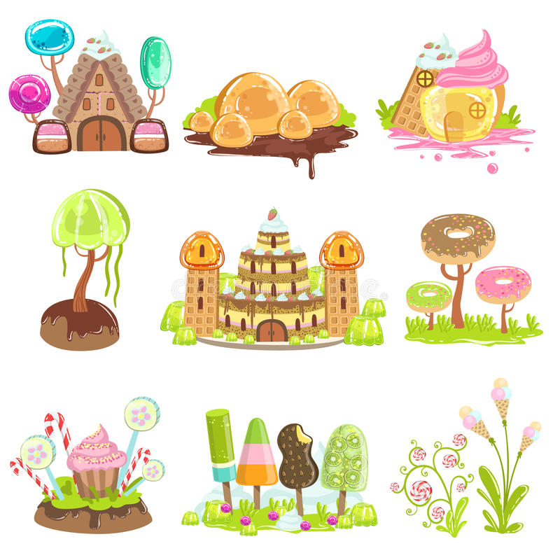Fantasy Landscape Elements Made Of Sweets And Candy. Bright Color Girly Design Landscaping Objects Set Of Flat Vector Icons vector illustration