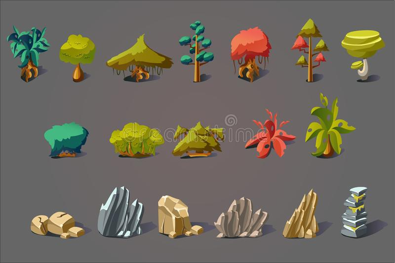 Fantasy landscape elements set, plants, trees and stones, details for computers game interface vector Illustrations. Web design vector illustration