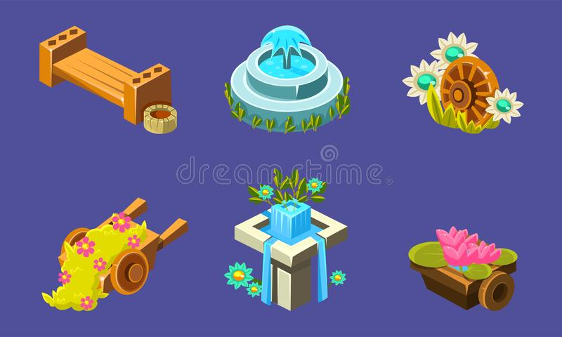 Fantasy Landscape Elements Set, Waterfall, Bench, Wheelbarrow, Fountain, User Interface Assets for Mobile App or Video. Game Vector Illustration, Web Design vector illustration