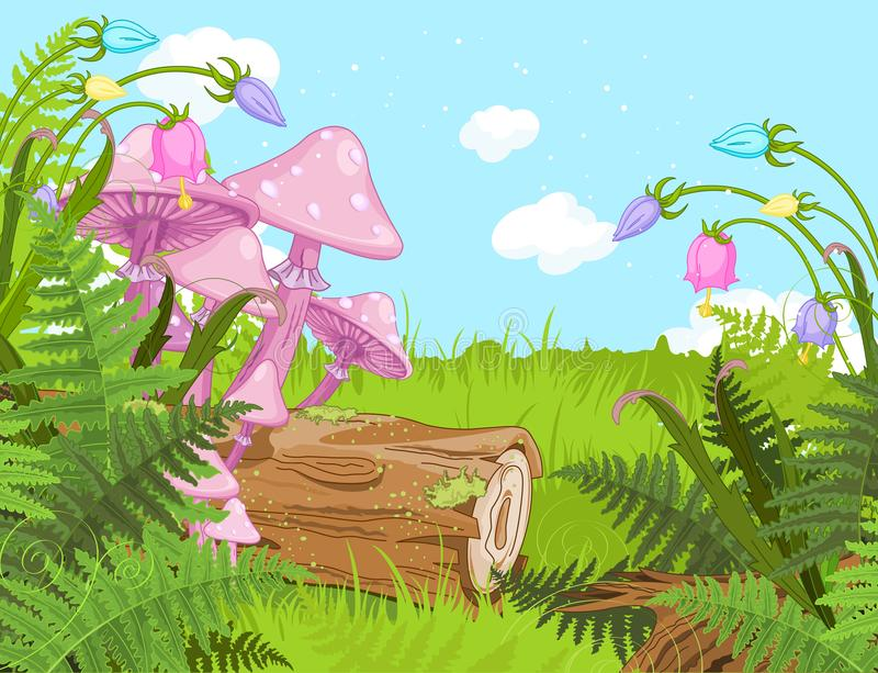 Fantasy Landscape. With mushrooms and flowers vector illustration