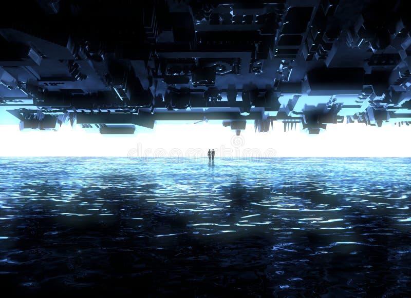 Fantasy landscape, fissure, darkness, light, sun, people in backlight in a science-fiction landscape, big bright portal vector illustration