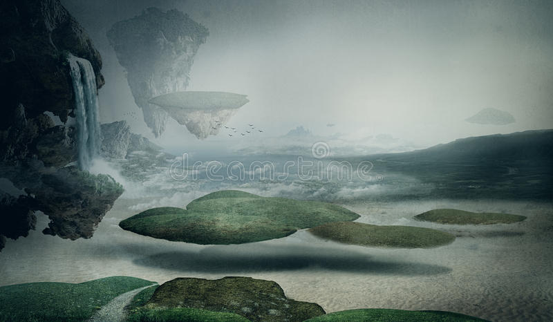 Fantasy landscape. With floating islands royalty free illustration