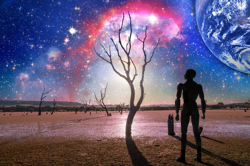 Fantasy landscape of the future - Person silhouette standing on stock photos