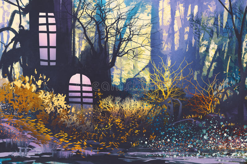 Fantasy landscape with house in tree trunk royalty free illustration