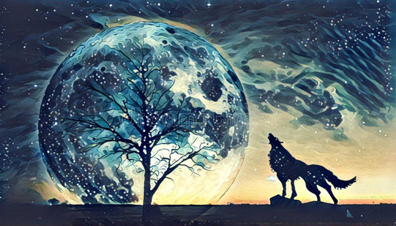 Fantasy landscape illustration artwork - Howling wolf and bare t. Ree silhouettes with huge planet rising behind in starry sky royalty free illustration